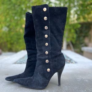 Tall Suede Boots with Studs Black Sz 7-1/2
